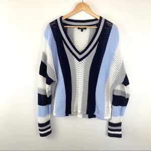 Express blue white stripe slouchy crop sweater Med